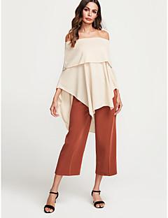 Χαμηλού Κόστους Γυναικείες Μπλούζες-Γυναικεία T-shirt Εξόδου / Κλαμπ Κομψό στυλ street Μονόχρωμο Χαμόγελο Εξώπλατο / Άνοιξη / Φθινόπωρο