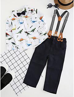 billige Tøjsæt til drenge-Drenge Tøjsæt Fest Daglig Dyretryk, Bomuld Polyester Forår Efterår Langærmet Simple Afslappet Hvid