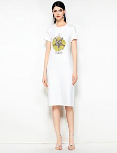 Χαμηλού Κόστους MARY YAN&YU-Γυναικεία Βασικό Βαμβάκι T Shirt Φόρεμα - Μονόχρωμο / Γεωμετρικό Ως το Γόνατο