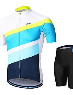 billige Sett med sykkeltrøyer og shorts/bukser-Arsuxeo Herre Kort Erme Sykkeljersey med shorts - Hvit Sykkel Klessett, 3D Pute