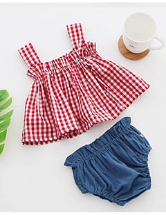 billige Tøjsæt til piger-Børn Pige Stribet Uden ærmer Tøjsæt