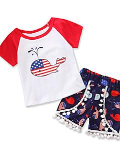 billige Tøjsæt til piger-Baby Unisex Trykt mønster / Farveblok / Patchwork Kortærmet Tøjsæt
