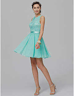 cheap Cocktail Dresses-A-Line / Princess Jewel Neck Short / Mini Chiffon / Lace Cocktail Party Dress with Beading / Sash / Ribbon by TS Couture®