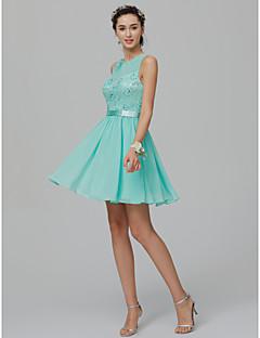 billige Kjoler til spesielle anledninger-A-linje / Prinsesse Besmykket Kort / mini Chiffon / Blonder Cocktailfest Kjole med Perlearbeid / Belte / bånd av TS Couture®