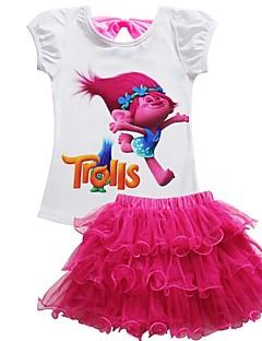 billige Tøjsæt til piger-Børn Baby Pige Ensfarvet Kortærmet Tøjsæt