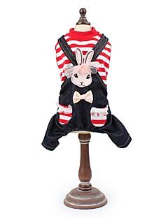 billiga Hundkläder-Hund / Katt / Husdjur Jumpsuits Hundkläder Randig / Vintage / Kanin Svart / Röd Bomull / Polyester Kostym För husdjur Herr Cowboy /