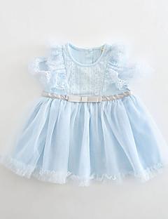 billige Babykjoler-Baby Pige Ensfarvet Kortærmet Kjole