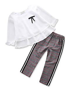 billige Tøjsæt til piger-Baby Pige Houndstooth mønster Langærmet Tøjsæt