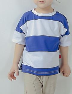 billige Overdele til drenge-Børn Drenge Blå & Hvid Stribet Kortærmet T-shirt