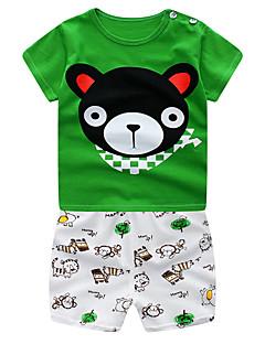 billige Tøjsæt til drenge-Baby Drenge Ensfarvet / Farveblok Kortærmet Tøjsæt