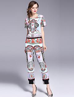 hesapli İki Parça Kadın Takımları-Kadın's Actif / Sokak Şıklığı Kısa Paltolar - Desen, Geometrik Pantolon