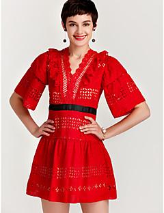 baratos Vestidos de Festa-Mulheres Para Noite Evasê Vestido - Renda Frufru Estampado, Sólido Decote em V Profundo Mini Vermelho