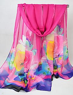 baratos Cachecol Feminino-Mulheres Chiffon, Retângular - Com Transparência Floral / Estampa Colorida / Arco-Íris / Todas as Estações