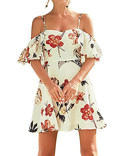 baratos Vestidos de Festa-Mulheres Boho / Moda de Rua Bainha Vestido - Cordões, Floral Acima do Joelho