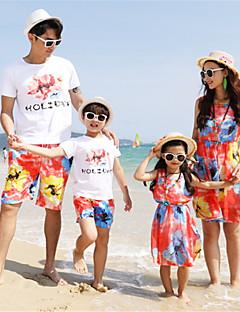 billige Sett med familieklær-Familie Look Fargeblokk Kortermet Tøysett