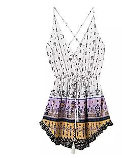 billige Jumpsuits og sparkebukser til damer-Dame Grunnleggende Sparkedrakter - Geometrisk, Drapering / Lapper / Trykt mønster