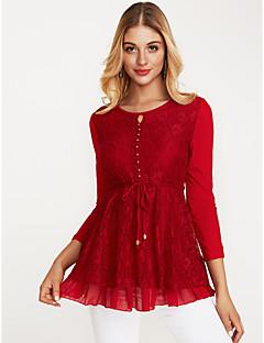 billige Plusstørrelser til kvinder på udsalg-Dame - Ensfarvet Bomuld I-byen-tøj Bluse / Efterår / Vinter / Blonde