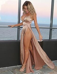 baratos Vestidos de Festa-Mulheres Bainha / balanço Vestido - Frente Única, Sólido Longo