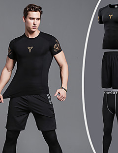 cheap Fitness, Running & Yoga Clothing-Men's Running Tights / Running Shirt with Shorts - Black+Sliver, Dark Gray, Dark Green Sports Compression Clothing / Tights Activewear Anatomic Design, High Elasticity High Elasticity