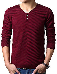 baratos Suéteres & Cardigans Masculinos-Homens Activo / Básico Pulôver - Sólido