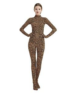 billige Zentai-mønstret Zentai Drakter Cosplay Kostumer Zentai Cosplay-kostymer Brun Leopard Spandex Lykra Elastisk Unisex Halloween Karneval Maskerade / Høy Elastisitet