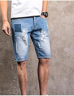 billige Herrebukser og -shorts-Herre Store størrelser Bomull Jeans Bukser Ensfarget
