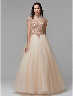 baratos Vestidos de Formatura-Princesa Gola Alta Longo Renda / Tule Brilho & Glitter Evento Formal Vestido com Miçangas / Renda de TS Couture®