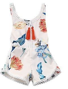 cheap The Freshest One-Piece-Baby Girls' Basic Daily Floral Printing Sleeveless Cotton / Polyester Romper White / Toddler