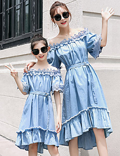 cheap Family Matching Outfits-Adults Mommy and Me Solid Colored Short Sleeve Dress