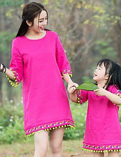 billige Sett med familieklær-Mamma og meg Ensfarget Langermet Kjole