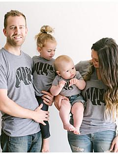 billige Sett med familieklær-Baby Familie Look Ensfarget / Geometrisk Kortermet T-skjorte