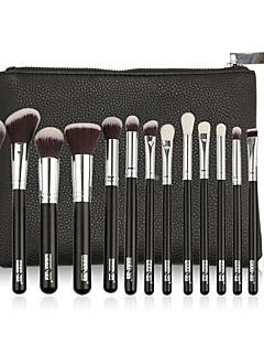 billiga Sminkborstar-15st Makeupborstar Professionell Rougeborste / Ögonskuggsborste / Läppensel Nylon fiber Professionell / Fullständig Täckning Trä / Bambu
