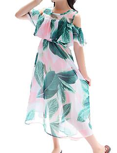 billige Sett med familieklær-Mamma og meg Tropisk blad Blomstret Kortermet Kjole