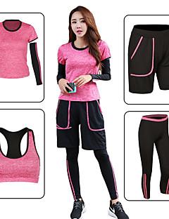 billiga Träning-, jogging- och yogakläder-Dam Rand / Lappverk Yoga Suit - Grön, Rosa, Grå sporter Elastan Shorts / Sportbehåar / T-shirt Löpning, Fitness, Gym Kortärmad Sportkläder Snabb tork Elastisk