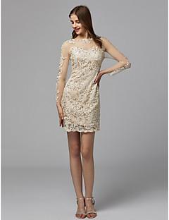 billige Tubekjoler-Tube / kolonne Illusjon Hals Knelang Blonder Cocktailfest Kjole med Perlearbeid / Blonder av TS Couture®