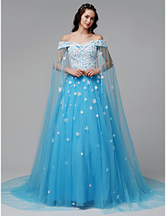 cheap Sequined Dresses-A-Line Off Shoulder Court Train Lace / Tulle Formal Evening Dress with Appliques by TS Couture® / Sparkle & Shine