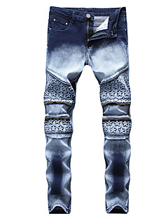 billige Herrebukser og -shorts-Herre Aktiv / Grunnleggende Jeans Bukser Geometrisk