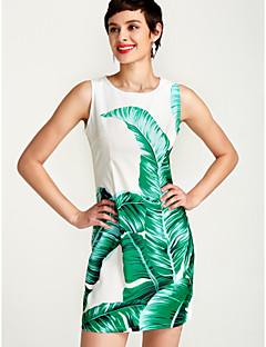 お買い得  レディースドレス-女性用 ベーシック ボディコン ドレス フラワー 膝丈 膝上 ホワイト