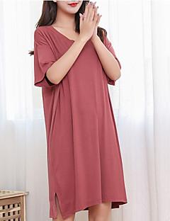 tanie Szlafroki i bielizna nocna-Damskie Bawełna Dekolt w kształcie litery U Skromna piżama / halka Piżama Solidne kolory