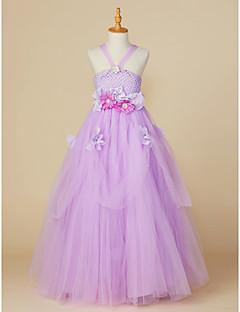 Χαμηλού Κόστους most popular-Βραδινή τουαλέτα Μέχρι τον αστράγαλο Φόρεμα για Κοριτσάκι Λουλουδιών - Πολυεστέρας / Τούλι Αμάνικο Ώμοι Έξω με Λουλούδι με LAN TING BRIDE®