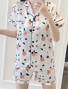 billige Moteundertøy-Dame Rundet jakkeslag Undertøy med strømpebånd Pyjamas - Ensfarget