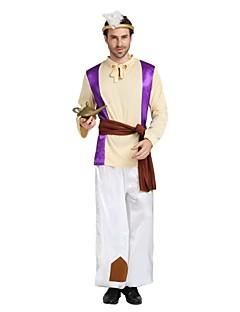 billige Halloweenkostymer-Arabian Kostume Herre Voksen Videregående skole Halloween Halloween Karneval Maskerade Festival / høytid Drakter Beige Ensfarget Halloween
