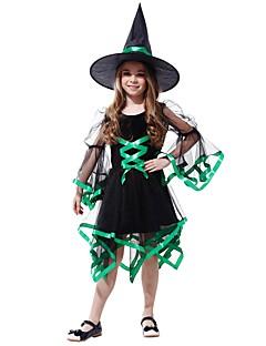 baratos Fantasias de Crianças-Bruxa Ocasiões Especiais Para Meninas Crianças Dia Das Bruxas Dia Das Bruxas Carnaval Dia da Criança Festival / Celebração Roupa Preto Sólido Halloween