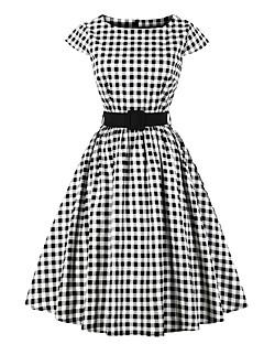 billige Vintage-dronning-Dame I-byen-tøj Vintage / Gade Bomuld A-linje Kjole - Ruder Knælang
