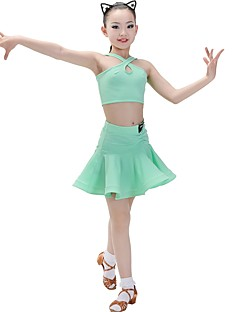 tanie Dziecięca odzież do tańca-Taniec latynoamerykański Stroje Dla dziewczynek Szkolenie Chinlon / Mléčné vlákno Materiały łączone Bez rękawów Naturalny Spódnice / Top