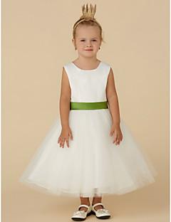 Χαμηλού Κόστους Φορέματα Καλλιστείων-Πριγκίπισσα Κάτω από το γόνατο Φόρεμα για Κοριτσάκι Λουλουδιών - Σατέν / Τούλι Αμάνικο Με Κόσμημα με Ζώνη / Κορδέλα με LAN TING BRIDE®