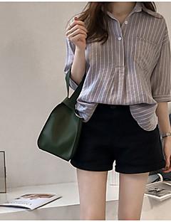 billige Skjorte-Krave Dame - Stribet Bomuld Skjorte
