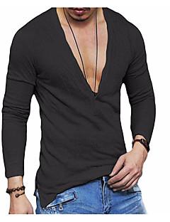 baratos -Homens Camiseta Básico Sólido Linho / Manga Longa
