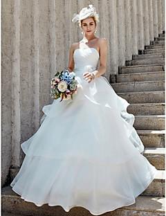 billiga Balbrudklänningar-Balklänning Hjärtformad urringning Golvlång Organza Bröllopsklänningar tillverkade med Blomma / Korsvis / Lager av LAN TING BRIDE® / Öppen Rygg