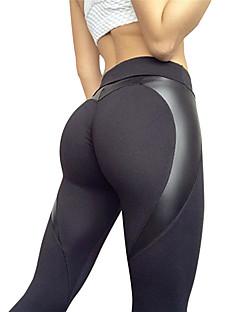 preiswerte Workout, Fitness & Yoga-Damen Patchwork Yoga-Hose - Schwarz Sport Elasthan Strumpfhosen / Lange Radhose / Leggins Laufen, Fitness Sportkleidung Atmungsaktiv Dehnbar